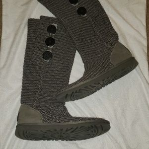 Ugg cable knit gray button boots